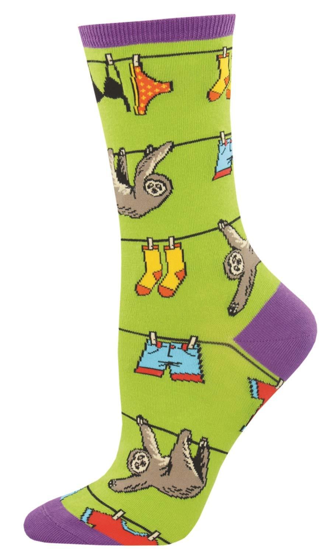Socksmith Womens Novelty Crew Socks Sloth On A Line -