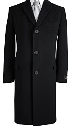 8f307e296f9 Mens Black Wool and Cashmere Warm Winter Overcoat Over Coat for Formal Suit  Suits 36 38