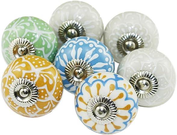 20 Mix look vintage fleur en céramique boutons de tiroir armoire placard tirer
