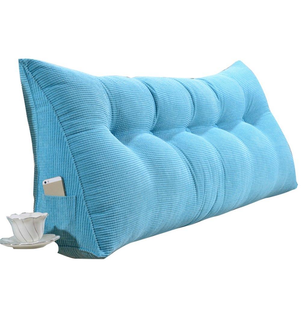 抱き枕 ラージトライアングルピローバックサポートクッションを読む枕腰部クッションネックピローヘッドボードパッド付きダブルベッドバックレストウォッシャブルリムーバブルカバー(ブライトブルー) (サイズ さいず : 200×50×20cm) 200×50×20cm  B07FNH9RKZ