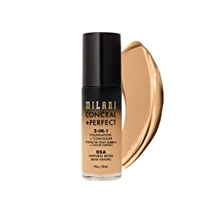 Milani Conceal + Perfect 2-in-1 Foundation + Concealer - Natural Beige (1 Fl. Oz.) Cruelty-Free Liquid Foundation - Cover Under-Eye Circles, Blemishes & Skin Discoloration for a Flawless Complexion