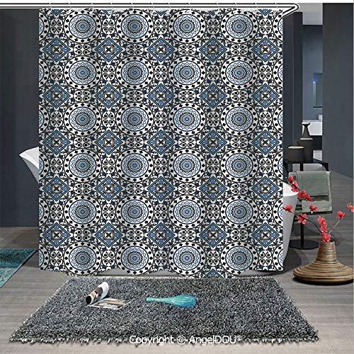 - AngelDOU Arabian Lightweight Durable Fabric Shower Curtain Retro Style Arabesque Motifs Mosaic Ceramic Design Traditional Culture Print Dec for Bathroom with Free Hooks