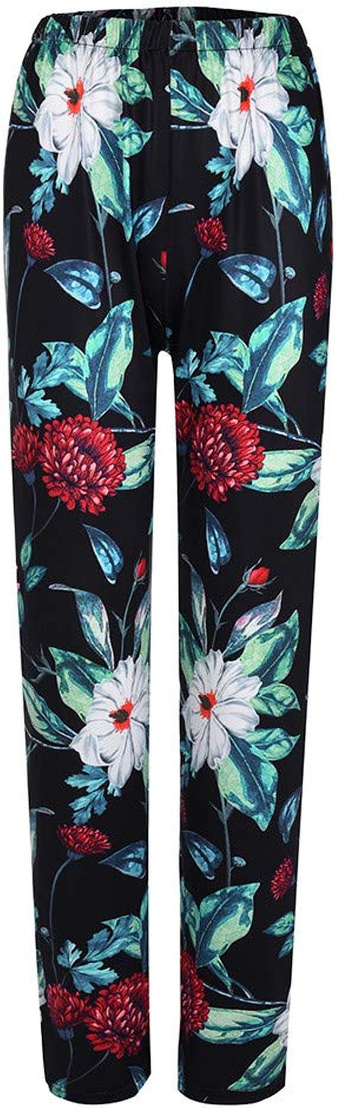 Sylar Pantalones Mujer Cintura Alta Moda Estampado De Flores ...