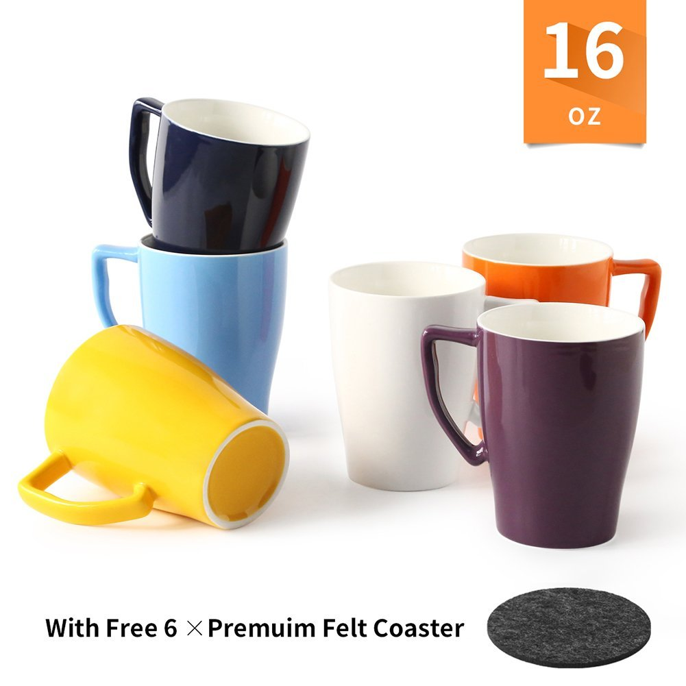 Porcelain Mug with Premuim Felt Coasters Perfect Mug for Coffee Tea Set of 6 Catering Set Hot Assorted Colors Microwave and dishwasher safe