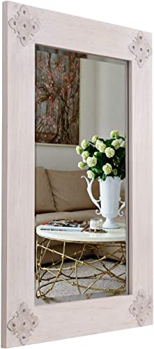 MOTINI Rectangular Wall Mirror, 24 x 36 Wood Framed Wall Mounted Decorative Mirror with Beveled Glass for Entryways, Bedroom, Living Room, Hallway, Home Decor
