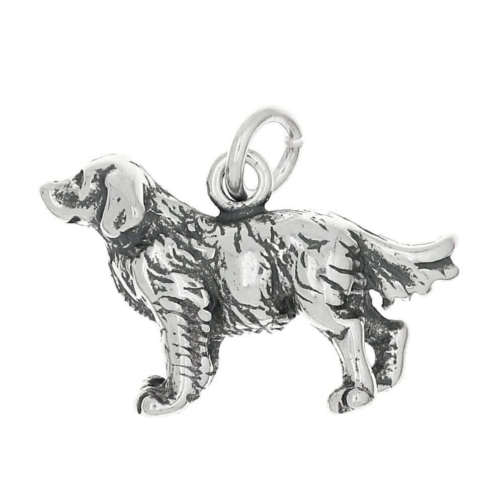 Sterling Silver Oxidized Three Dimensional Golden Retriever Dog Charm