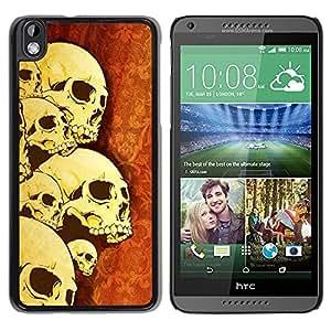 PC/Aluminum Funda Carcasa protectora para HTC DESIRE 816 Skulls Skeleton Art War Death Anatomy Head / JUSTGO PHONE PROTECTOR
