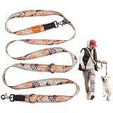 JC HOUSE 多機能リード 6ways 犬用リード ハンズフリー 肩掛け リード 多頭引き 安全3.5cmスーパー幅のデザイン 長さ250cm 散歩 カジュアル おしゃれ カラフル ファッションリード 大型犬 小型犬 中型犬 訓練 トレーニング Geekオレンジ