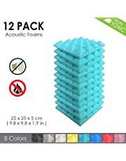 Arrowzoom New 12 Pack of Pyramid Acoustic Foam Studio Absorbing Tiles Pads Wall Panels
