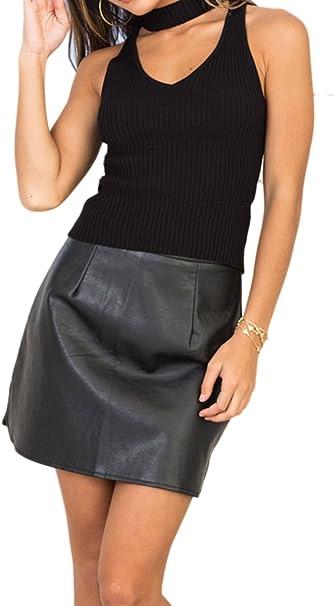 Zilcremo Mujeres Hot PU Bodycon Midi Club Mini Falda Ajustada ...