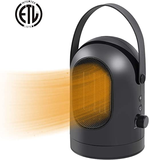 Charlemain Calefactor Eléctrico,Calefactor Portátil de oscilante de PTC Cerámica oscilación automática de 30°,Calefactor Ventilador pequeño,Mini Calentador 600W con Viento cálido y Natural (Negro): Amazon.es: Hogar