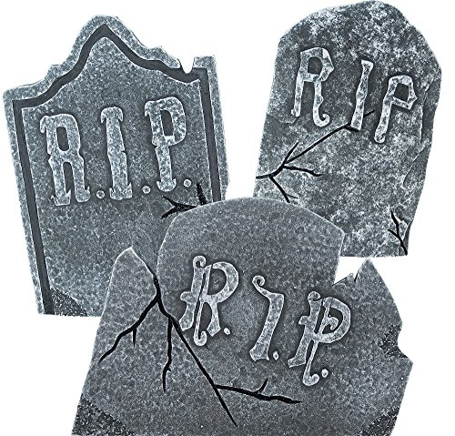 Set of 3 Large Crooked Leaning Weathered Ancient Style Tombstones Halloween Lawn Yard -