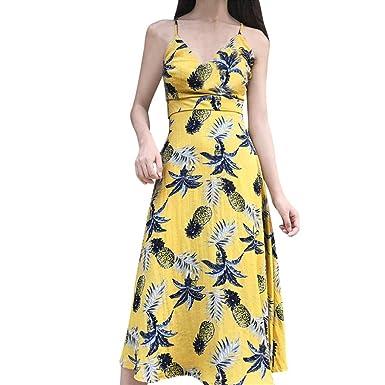 40161ef2fee VEMOW Summer Dresses for Women Sexy Maxi Halter Neck Sleeveless Beach Dress  Long Slip Boho Prom Casual Irregular Loose Linen - Ladies Pineapple  Printing ...
