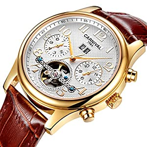 PASOY Mens Watch Automatic self-wind Tourbillon Brown Leather Band Date Full Gold Waterproof Watches 40MM