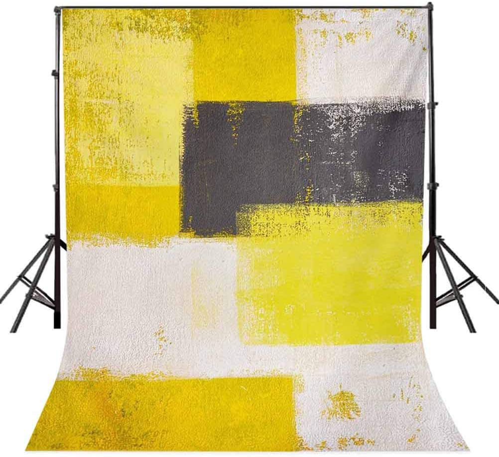 Grey and Yellow 10x12 FT Backdrop Photographers,Abstract Grunge Style Brushstrokes Painting Style Background for Party Home Decor Outdoorsy Theme Vinyl Shoot Props White Charcoal Grey and Pale Yellow