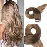 Full Shine 16″ Balyage Human Hair Extensions Tape in Ombre Color #10 Brown Fading to Color # 12 Golden Blonde Real Skin Weft Hair Extensions Hight Quality 20 Pcs/ 50g Review
