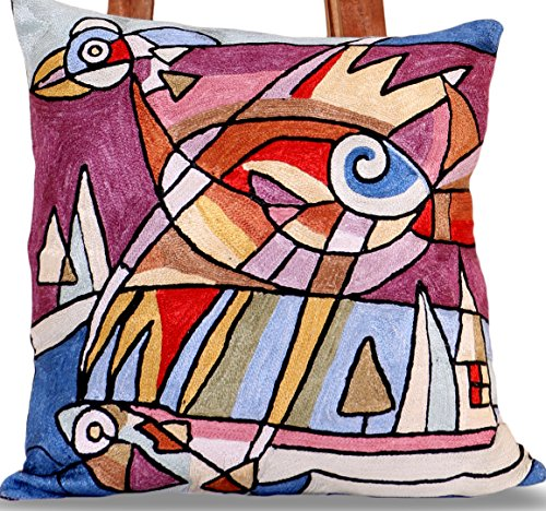 Hand Embroidered Square shaped SILK cushion covers (18