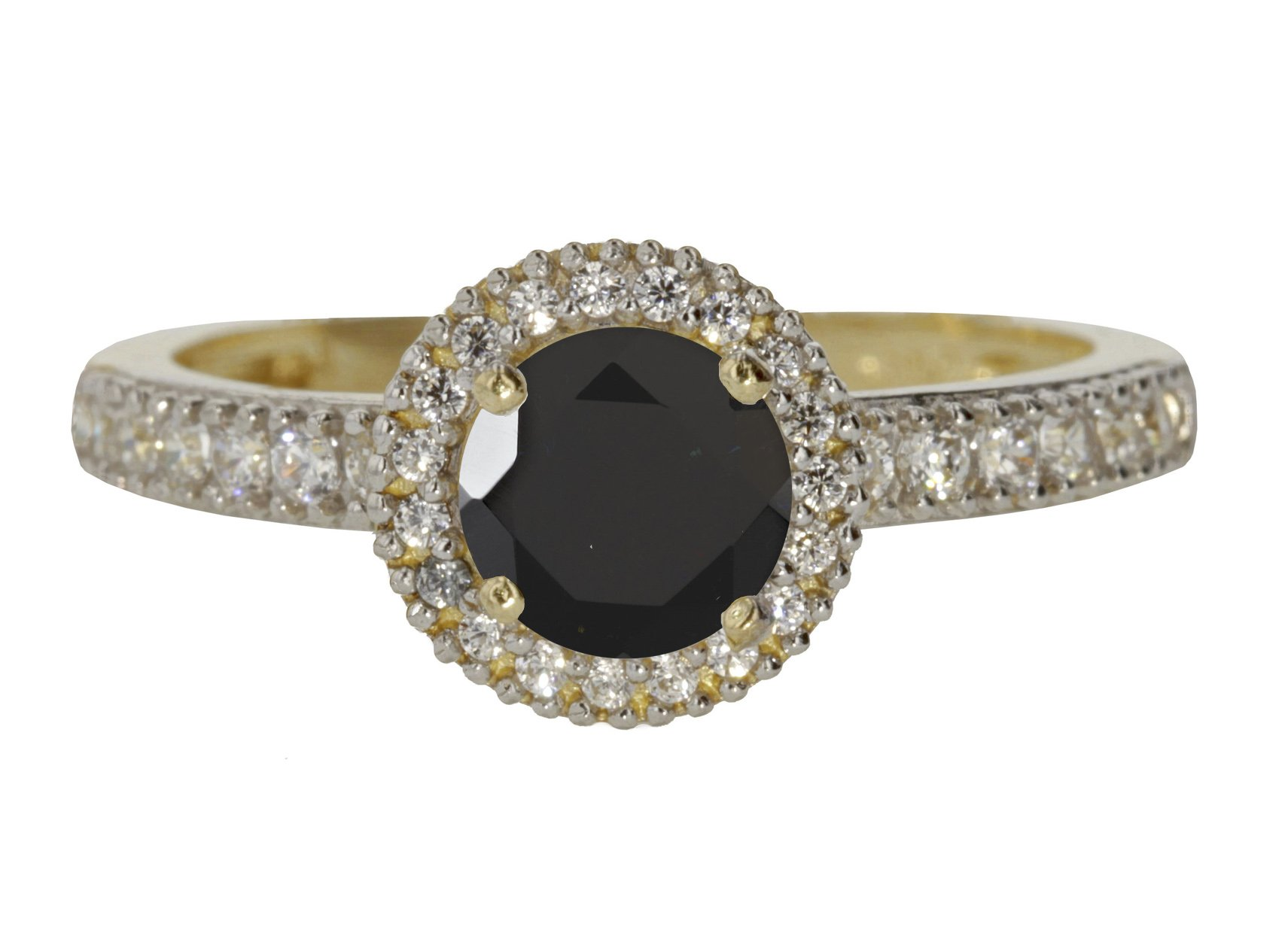 10k Yellow Gold Faceted Natural Genuine Black Onyx Round Solitaire Halo Vintage Engagement Ring Size 8