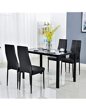 d3cd3ae841dc Bonnlo Modern 5 Pieces Dining Table Set Glass Top Dining Table and Chairs  Set for 4