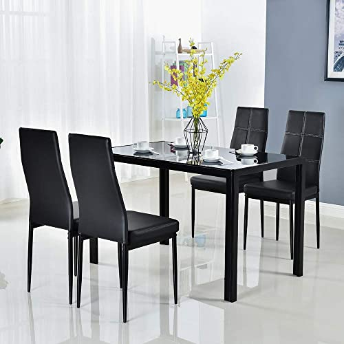 Deal of the week: Bonnlo 5 Pieces Dining Set Black Dining Table and Chairs Set