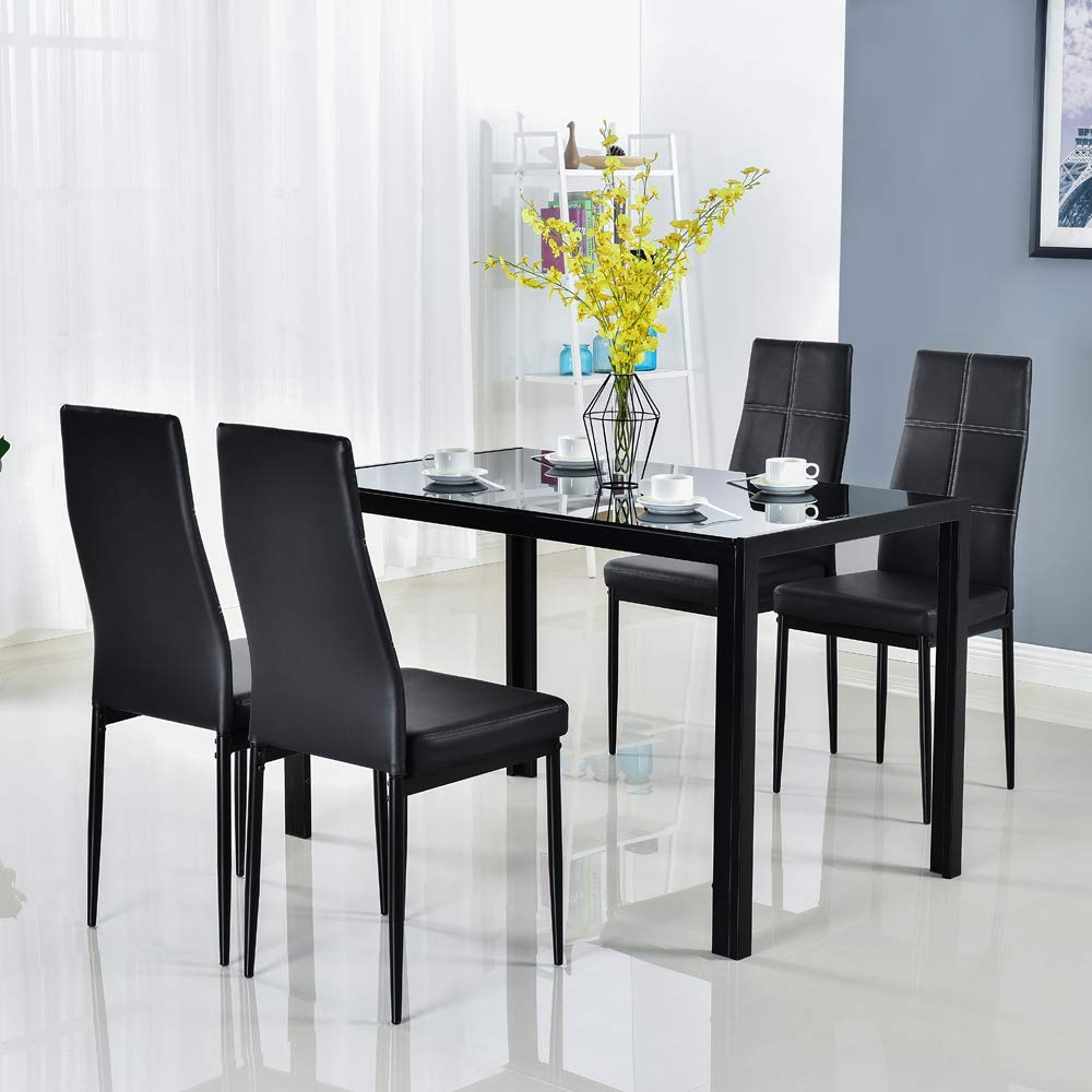 Modern 5 Pieces Dining Table Set Glass Top Dining Table And Chairs Set For 4 Person Black