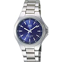 Q&Q Men's Blue Dial Stainless Steel Band Watch - Q618J212Y