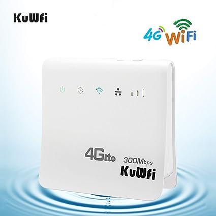KuWFi Desbloqueado Router inalámbrico WiFi inalámbrico de 300Mbps 4G LTE CPE para Ranura de Tarjeta SIM con Soporte de Puerto LAN Funciona con Tarjeta ...