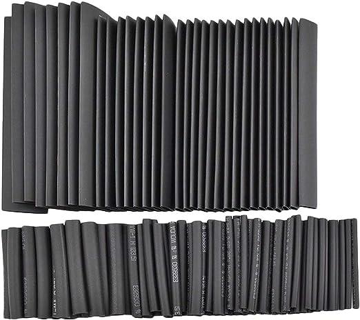 black Sunnyflowk 127pcs Heat Shrink Tubing Tube Wire Isolation Sleeving Kit Car Electric Shrinkable Cable Wrap Set Assorted Polyolefin