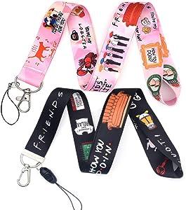 Wangyiqian Phone Lanyard Friends TV Show ID Badge Key Chain Holder Keychain Clip Set of 2 (Black+Pink)