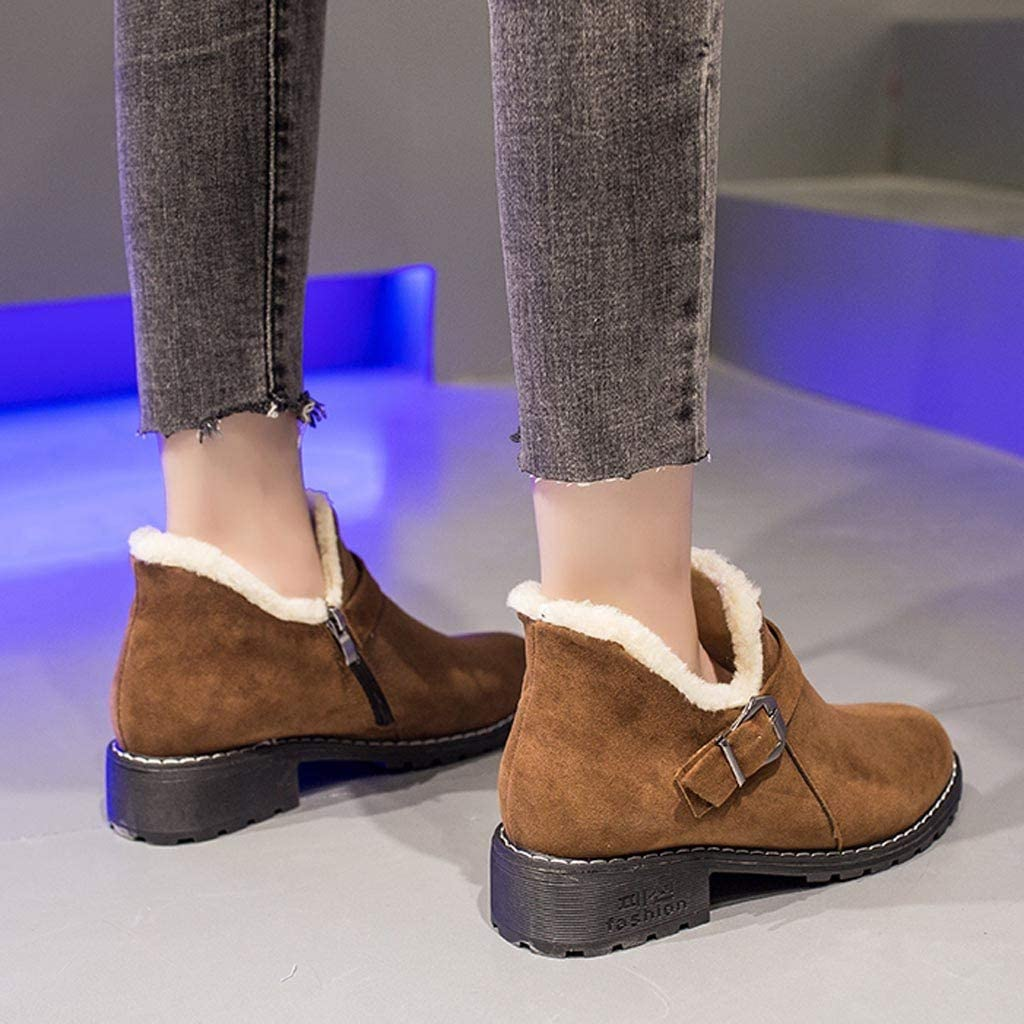 BIKETAFUWY Women Ankle Boots Low Heel Suede Buckle Strap Zipper Booties Round Toe Winter Warm Thick Fur Lined Shoes
