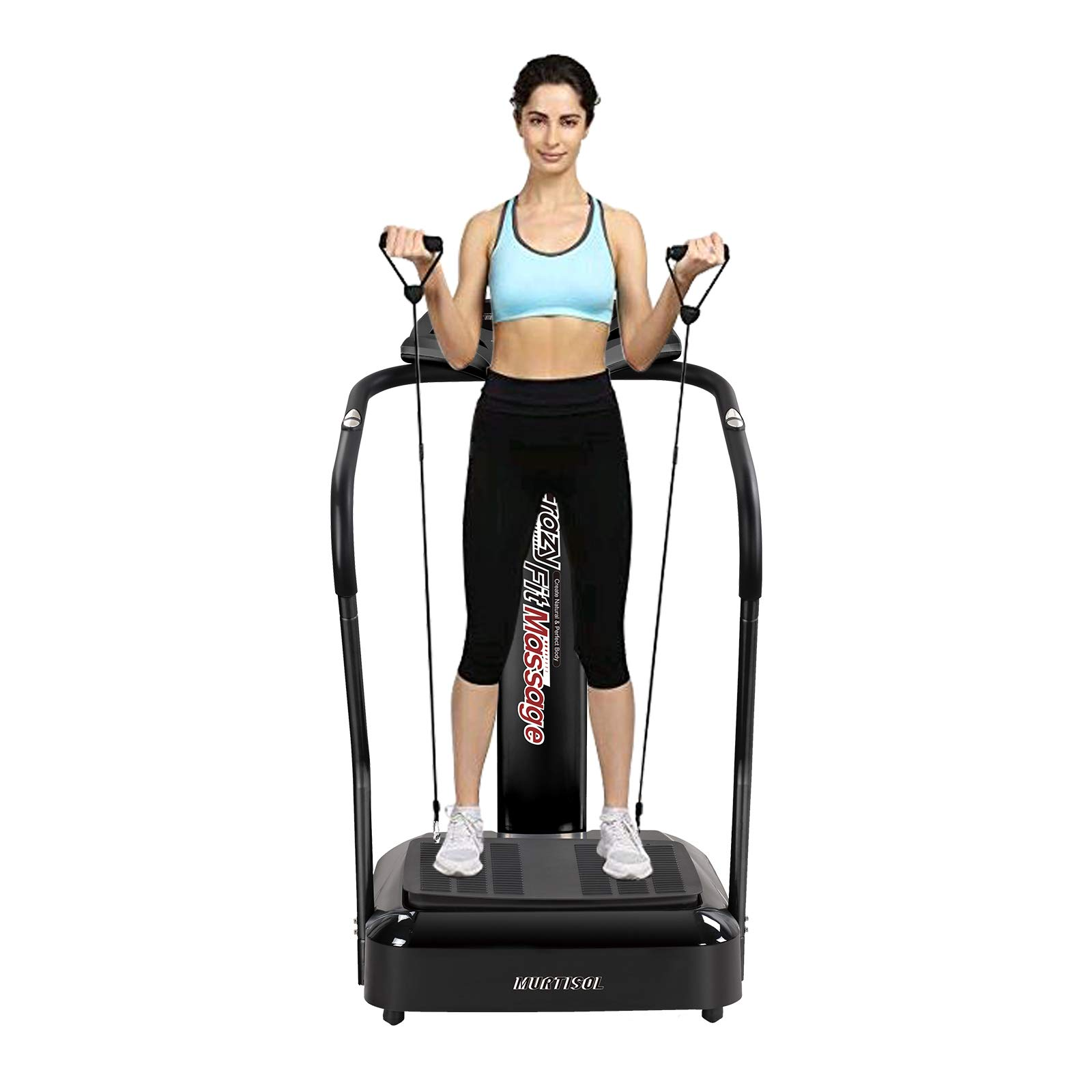 Murtisol Vibration Platform Power Plate with Heart Rate Grips,Whole Body Vibration Machine Massage Slim with Resistance Bands