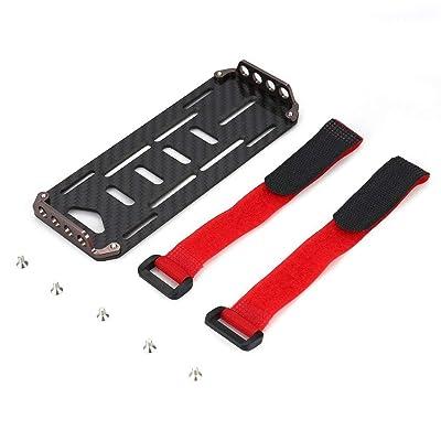 Garciasia Placa de Montaje de la batería de Fibra de Carbono Negra para riel sobre orugas de Escala 1/10 RC Escalada Fuera de Carretera Axial SCX10 CC01 F350 D90 RC4WD (Color: Negro): Juguetes y juegos