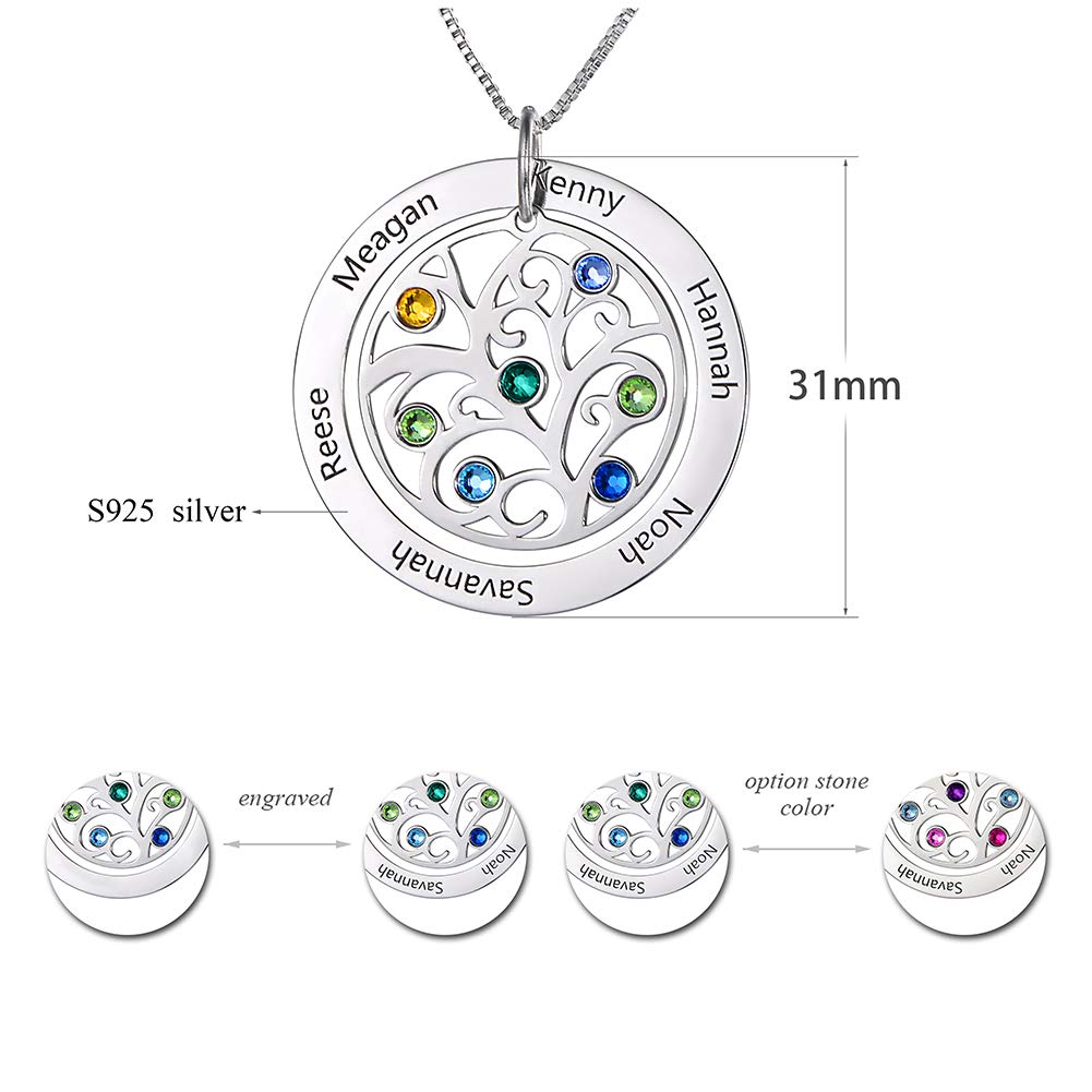 HooAMI Personalized Family Tree Name Necklace Birthstone Pendant Mother Jewelry Gift