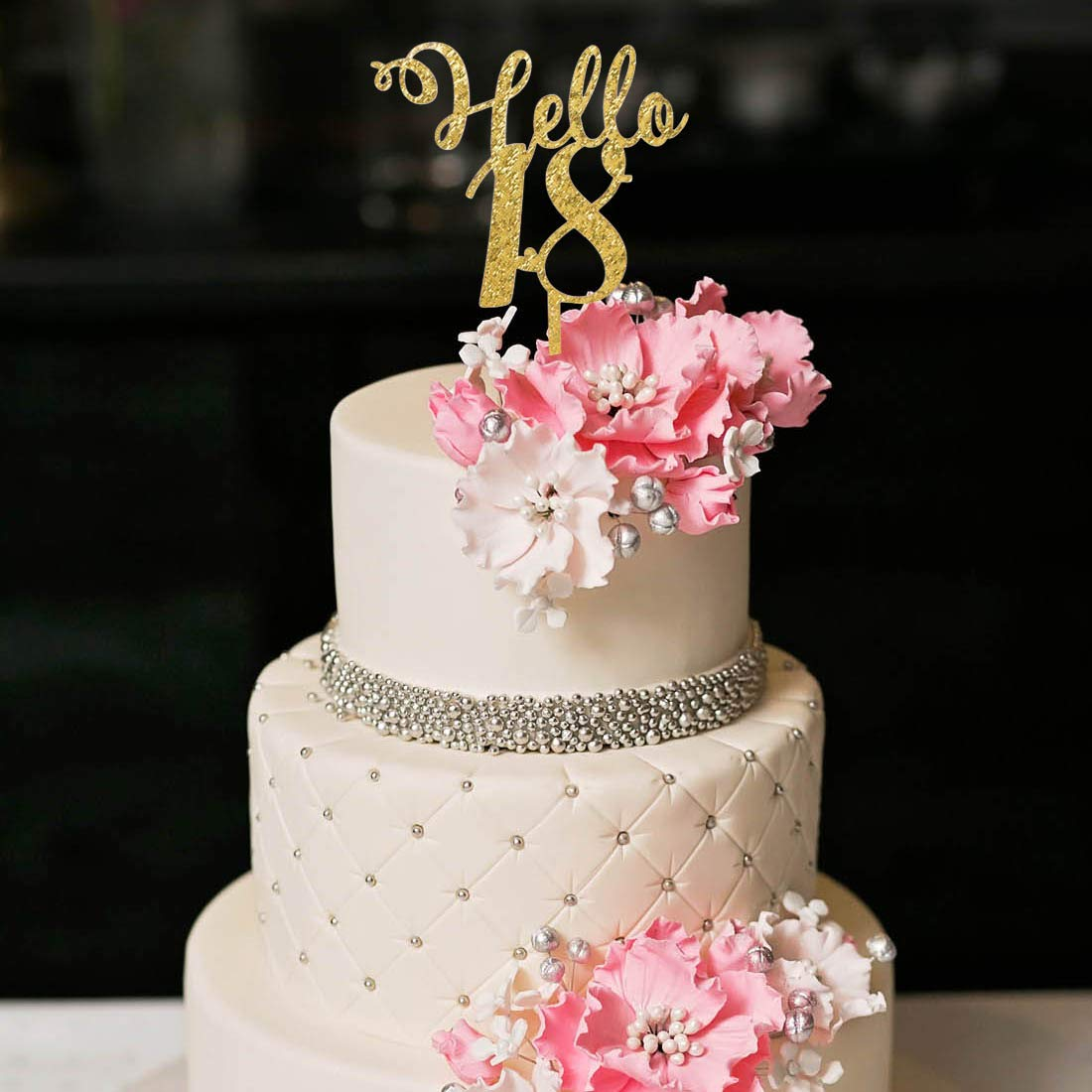 YUINYO Hello 18th Birthday Cake Topper Gold Happy18th Party Decoration Supplies Calligraphy Bling Sign Banner Quality
