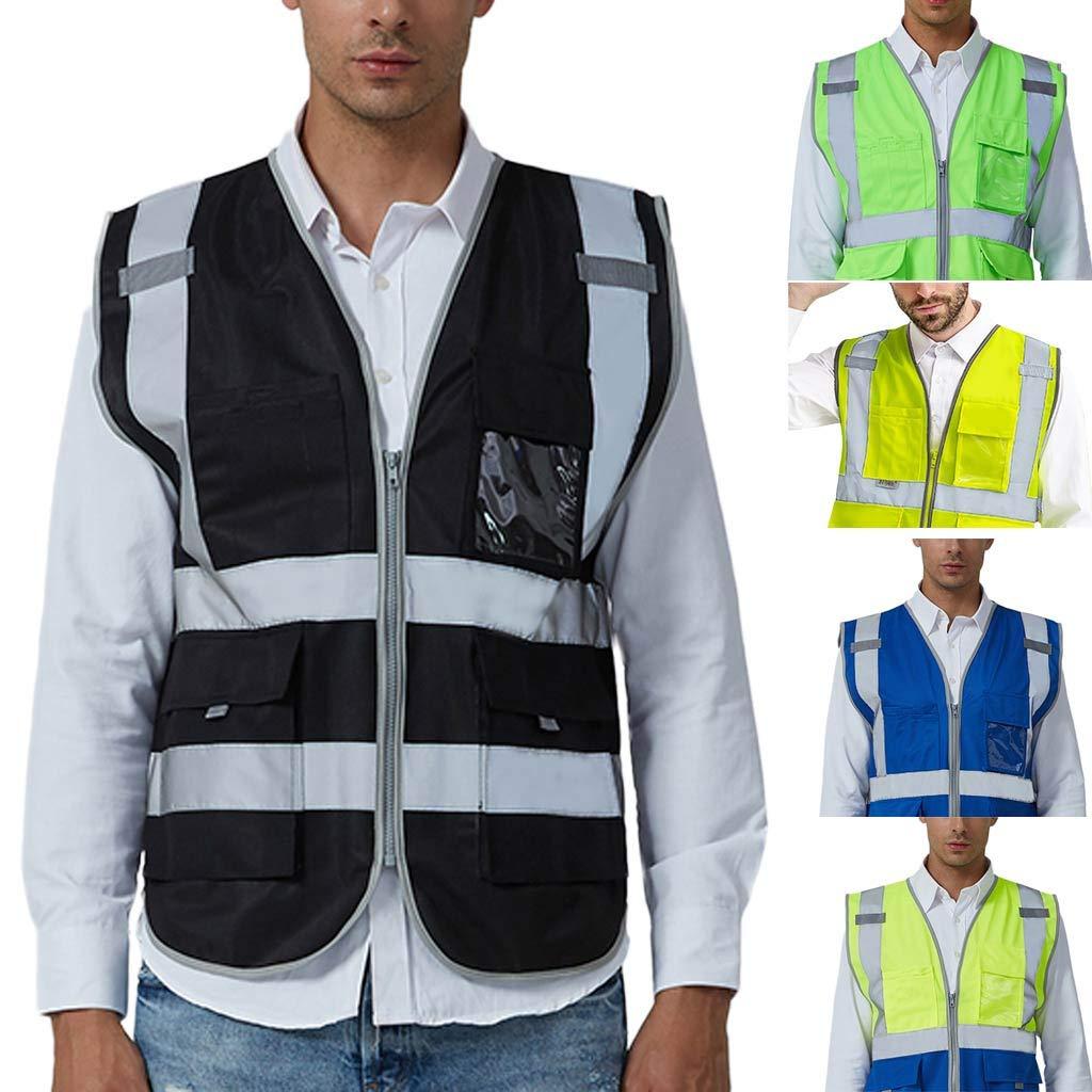 iHAZA Workwear Veste de Sécurité avec Équipement d'Avertissement et Veste en Polaire Amovible Taille Orange4