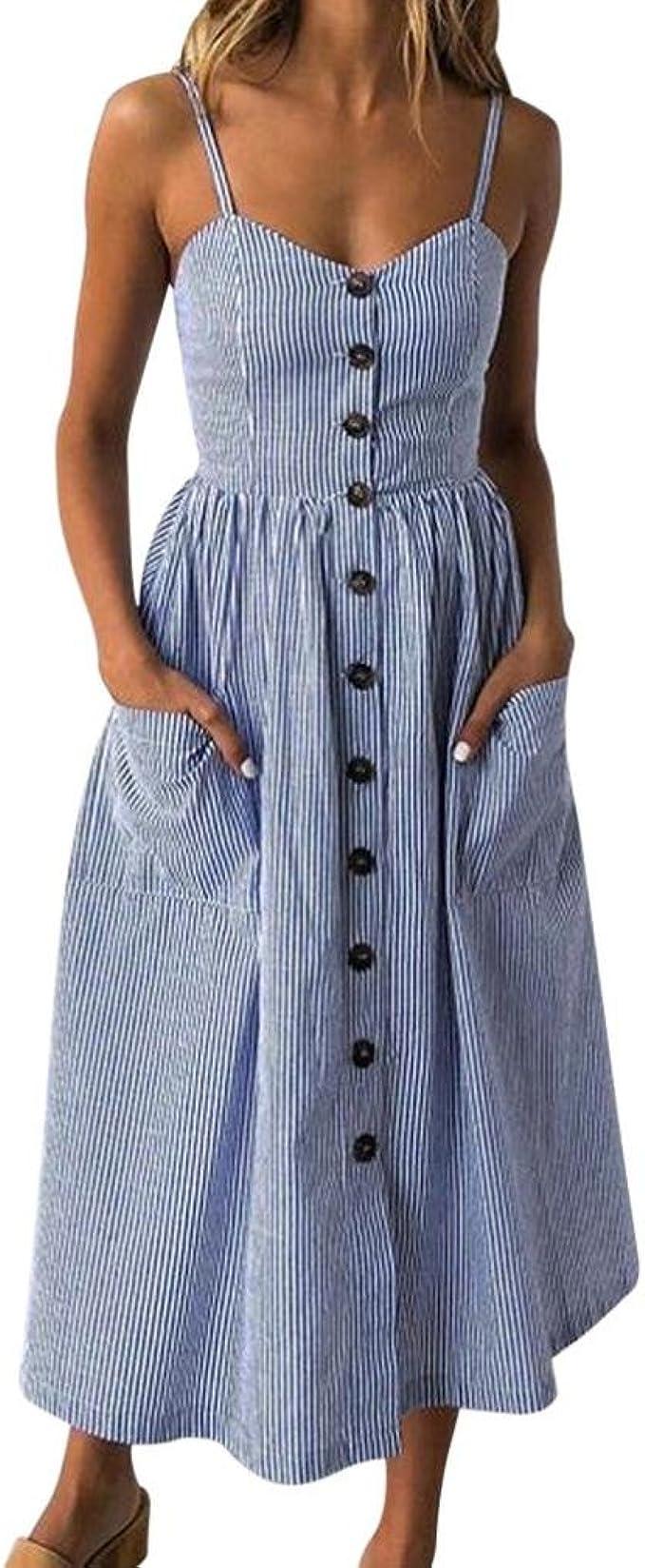 Womens Floral Casual Sundress Summer Ladies Button Pocket Beach Midi Swing Dress