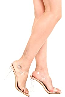 c23b8656a9ba ELEGANT OPEN TOE ANKLE BUCKLE STRAP CLEAR TRANSPARENT PERSPEX CHUNKY HIGH  HEEL