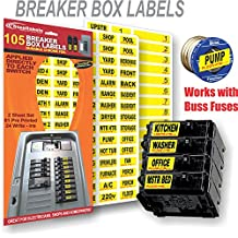 Circuit Breaker Decals - 105 Tough vinyl labels for Breaker Boxes - Great for Home or Office - Apartment Complexes and Electricians - Placed directly on Switch or Fuse - Bright Colored - Breaker Panel