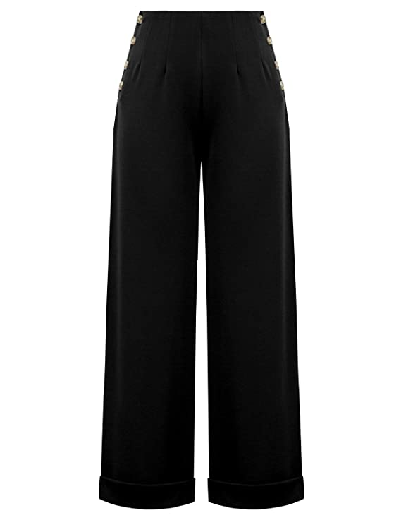Vintage High Waisted Trousers, Sailor Pants, Jeans CURLBIUTY Women High Waist Wide Leg Pants Casual Button Down Palazzo Trouser $23.79 AT vintagedancer.com