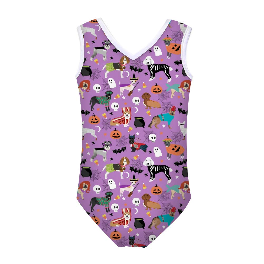 FUSURIRE Girls Bathing Suit One Piece Cute Baby Girls Swimwear Printed V-Neck Swimsuit for 5-12 Y