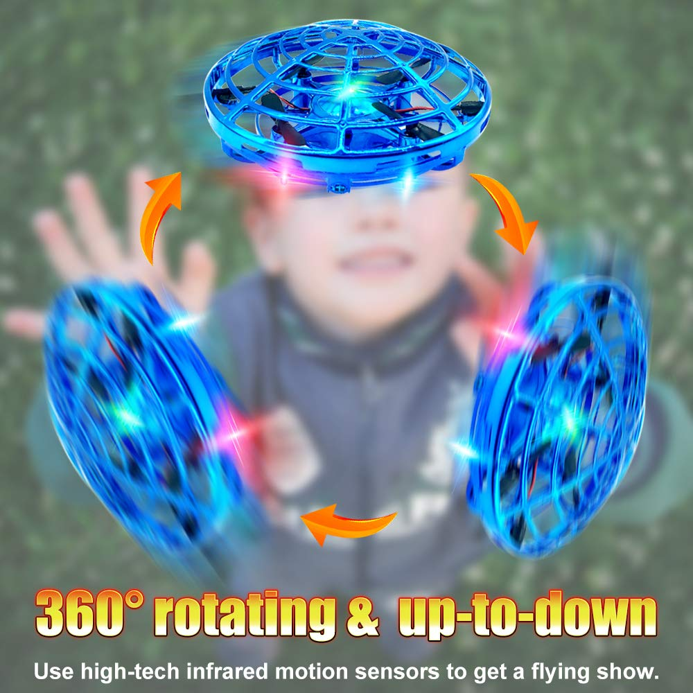 Hand Drones, Hand Operated Drones, econoLED Boy Toys Kids Hand Controlled  Flying Ball Drone,Hands Free Mini Flying Ball Helicopter with 2 Speed & 5