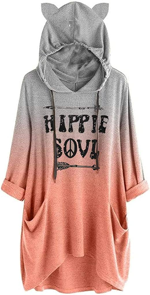 Whycat Hippie Soul Letter Print Cat Ear Hoodie Blanket Dress Women Oversize Funny Sweatshirt Hooded 3//4 Sleeve T Shirt Pullover Spring Lounge Wear Cute Girls School Home Casual Tops