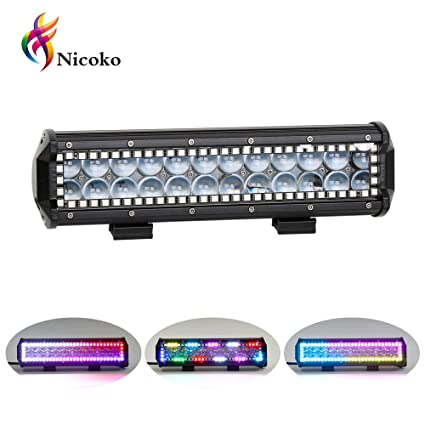 Nicoko 12 inch 72w Led Light Bar with Chasing RGB Halo 10 solid Multi-colors on