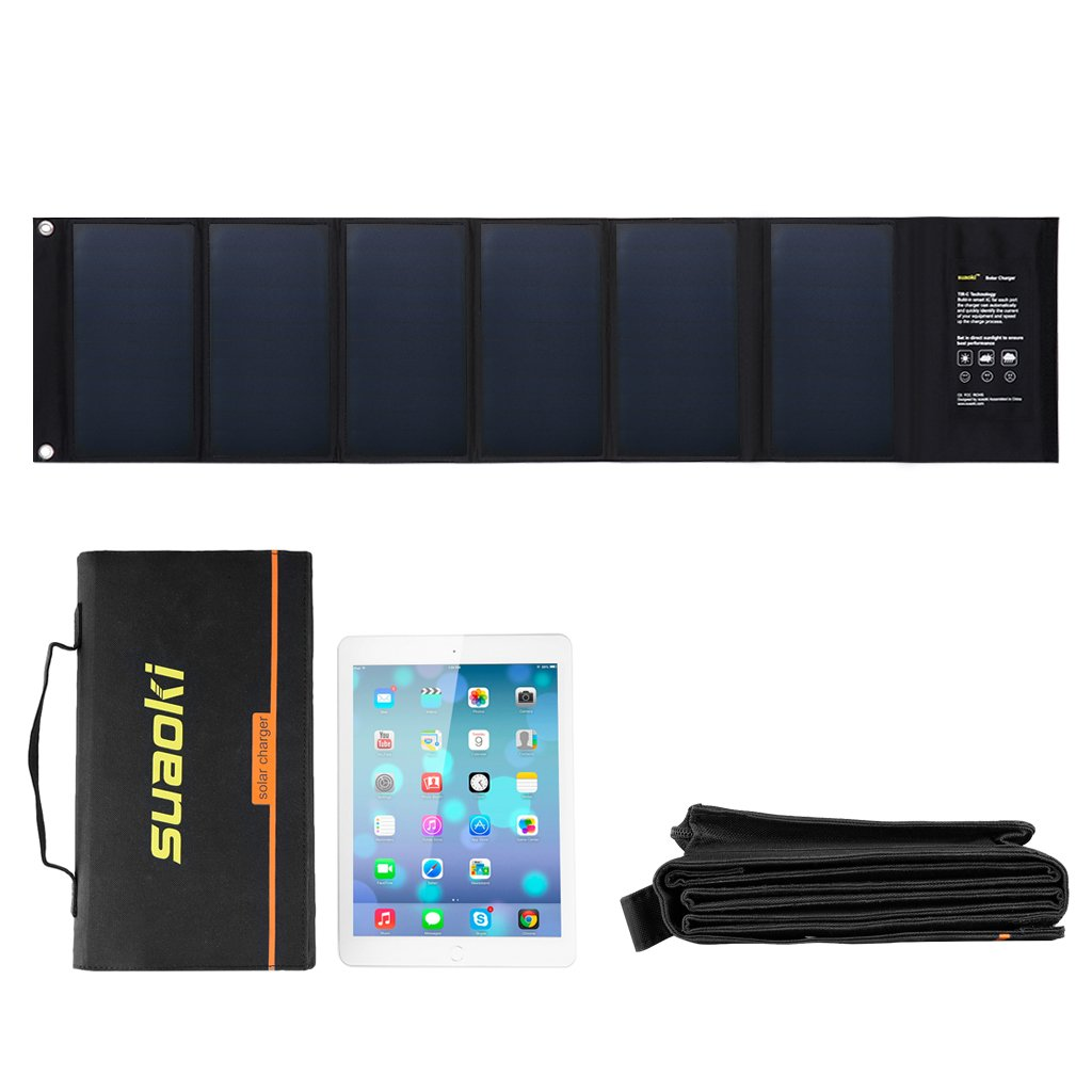 Suaoki 40W Portable Sunpower Mono-crystalline Solar Panel With DC 18V and Usb 5V Output Charger for Laptop Tablet SLR GPS Cellphone Other 5-18V Device by SUAOKI (Image #2)