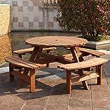 Rutland County Garden Furniture Ashwell Garden Wooden Picnic Bench - 8 Seater - Circular Brown Pub Bench - Indoor Outdoor Heavy Duty Timber