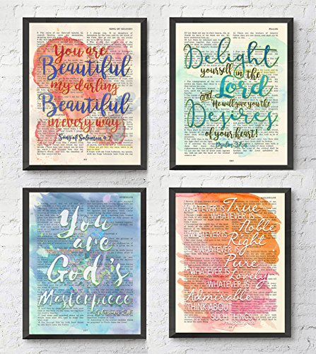 Watercolor Christian ART PRINTS Set of 4, Song of Solomon 4:7, Psalm 37:4, Ephesians 2:10, Philippians 4:8 UNFRAMED, Bible verse scripture wall decor poster, 8x10 inches