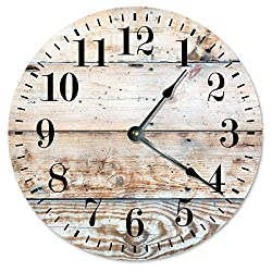 LIGHT BROWN WOOD CLOCK Large 10.5 Wall Clock Decorative Round Novelty Clock PRINTED WOOD IMAGE Cabin, Rustic Decor