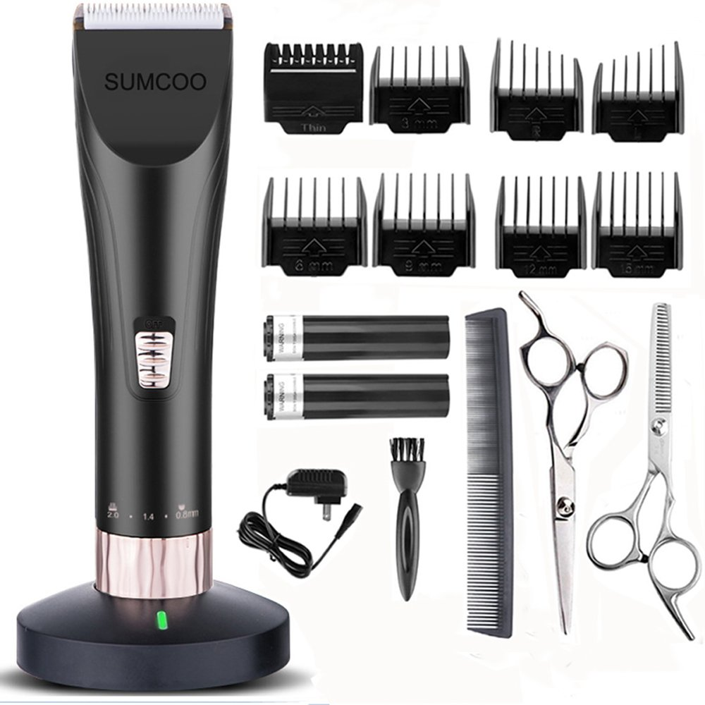 SUMCOO Hair Clippers, Low Noise Cordless Kids Grooming Clippers and Hair Trimmer for Men and Baby with 2 Rechargeable Batteries, Charging Base and 8 Guide Combs (Black)