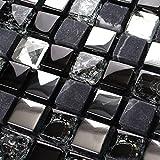 Hominter 5-Sheets Glass Marble Wall Tile, Grey and Black Rhinestone Backsplash for Kitchen, Silve Coating and Crackled Crystal Mosaic Bathroom Tiles KS66B