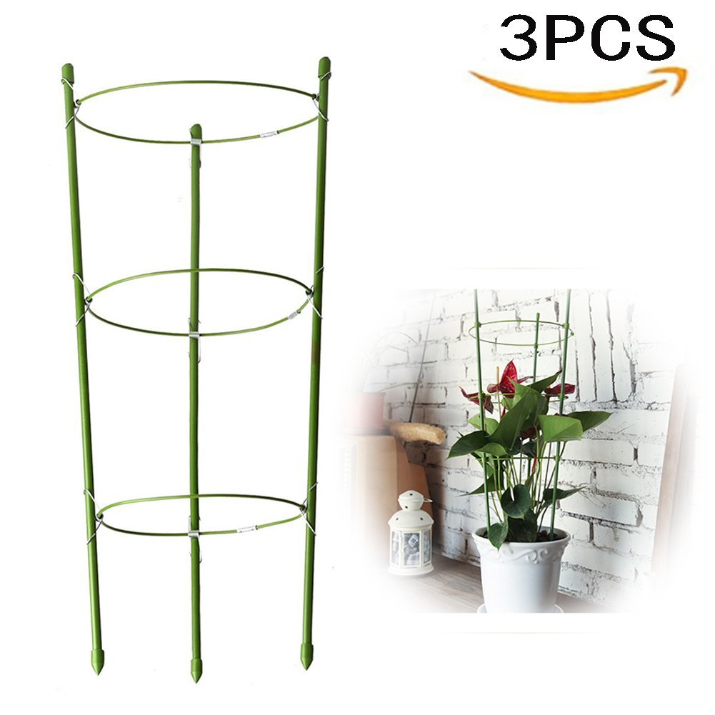 Yojoloin 3 Pack Garden Plant Support Ring Garden Trellis Flower stainless Steel Support Climbing Vegtables&Flowers&Fruit Grow Cage with 3 Adjustable Rings 17.8''(3PCS)